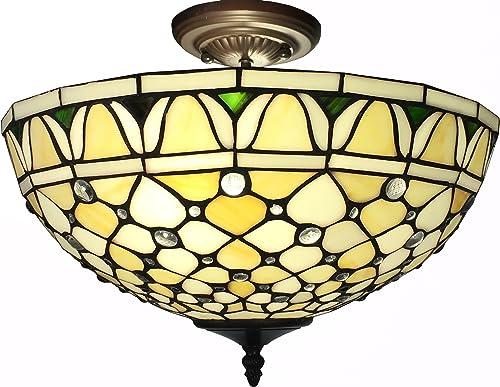 Whse of Tiffany T16043UL Alvira 2-Light Tiffany-Style Ceiling Lamp, 16 , Off White