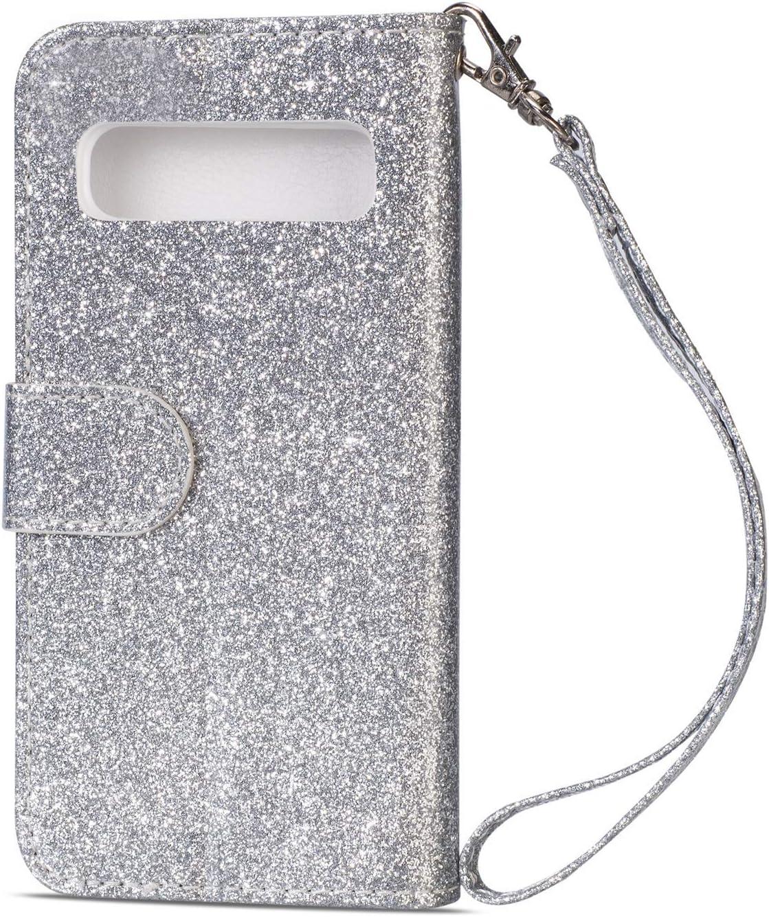 Felfy Compatible avec Coque Galaxy S10e Portefeuille Premium /étui en Cuir PU Housse Glitter Sparkle Flip Magn/étique Cover Case Bumper avec Stand Fonction et Fentes pour Cartes,Argent S10 Lite