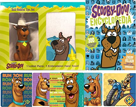 Buddy Up Scooby-Doo Figure Fun Dispenser Time Kids Cartoon Character Set Zoinks Action Stickers Bundle Bath Hand Towel Complete Book on Everything Encyclopedia Scooby /& Mystery Gang