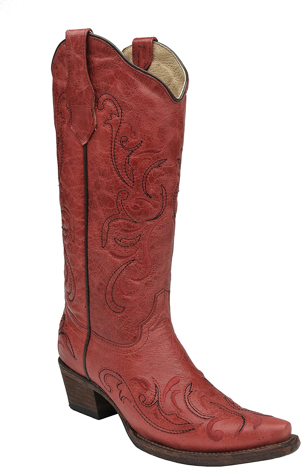 Red Leather Cowgirl Boots