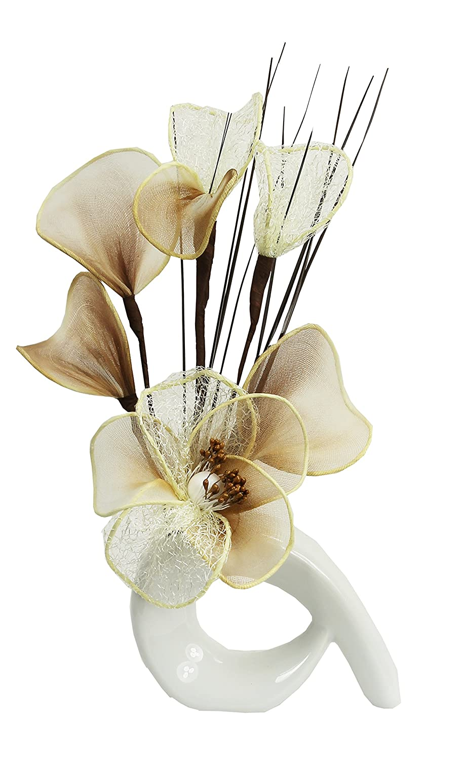 White Vase with Cream and Coffee Artificial Flowers, Ornaments for Living Room, Window Sill, Home Accessories, 32cm Flourish 792640