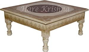 Hare Krishna Wooden Indian Design Hand-Painted Wooden Chowki Stool/Decorative Small Side End Table Christmas Decoration (White) 13 x 13 x 5.5
