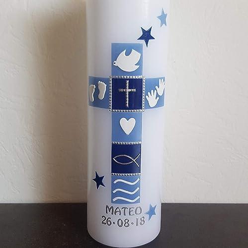 Taufkerze Kreuz Sterne