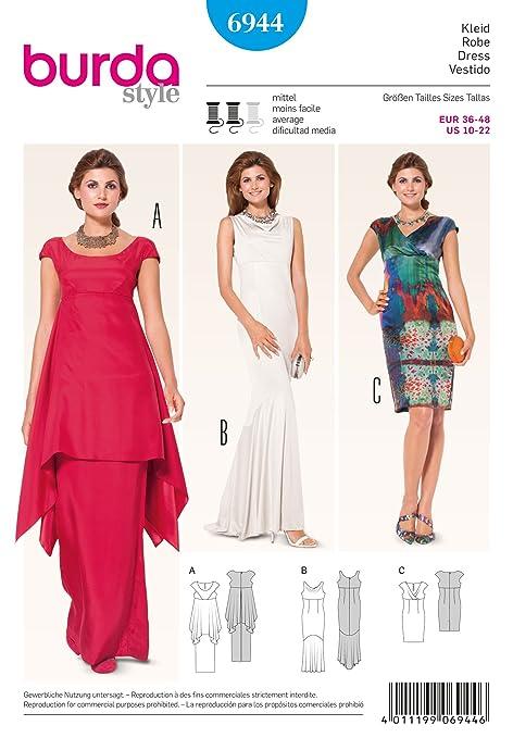 Burda B3274 - Patrón de costura para vestido 19 x 13 cm: Amazon.es ...