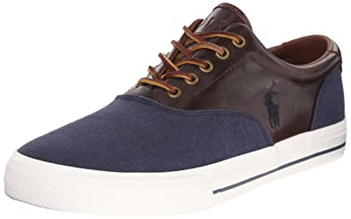 Polo Ralph Lauren Men's Vaughn Saddle Fashion Sneaker, Indigo Blue/Polo  Tan, 7