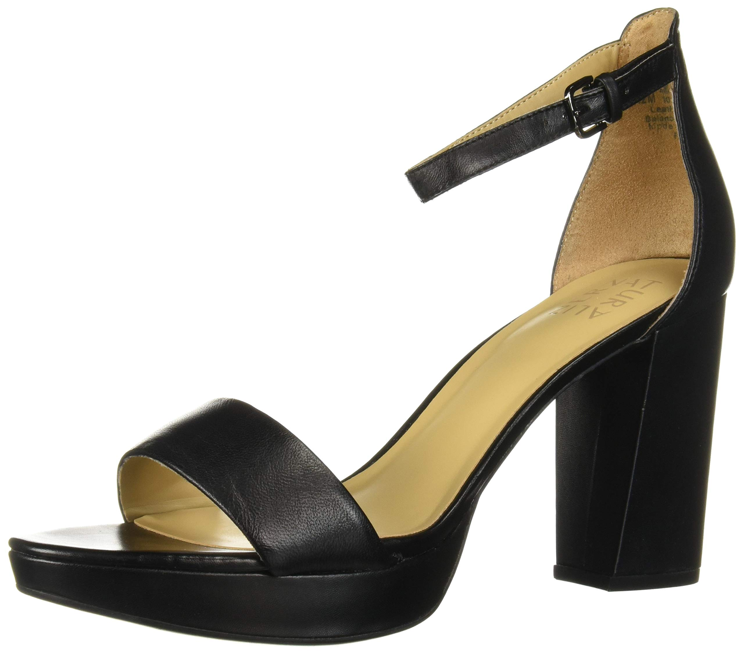 Naturalizer Women's Fields Heeled Sandal, Black Leather, 6.5 M US by Naturalizer