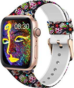 TSAAGAN Silicone Pattern Printed Band Compatible for Apple Watch Band 38mm 42mm 40mm 44mm, Floral Soft Sport Replacement Strap Wristband for iWatch Series 6/5/4/3/2/1 (Colorful Skull, 42mm/44mm)