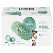 Pampers Pure Disposable Baby Diapers, Hypoallergenic and Fragrance Free Protection, Size 6, 38 Count, SUPER