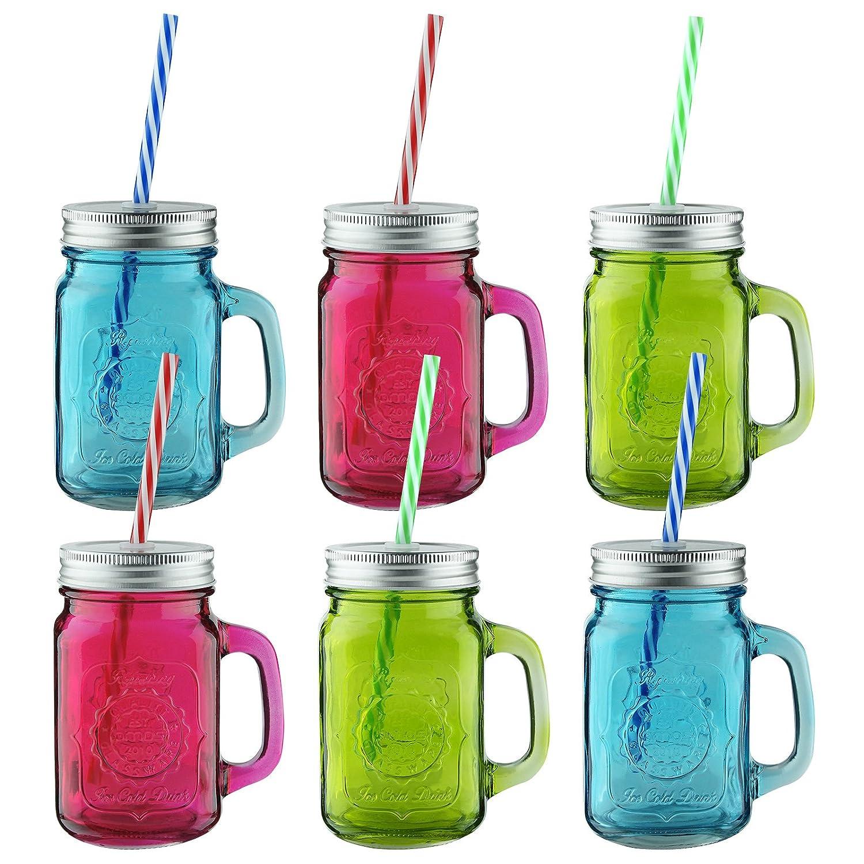 amos tarros coloreados con mangos jarras de vidrio transparente frascos de mermelada vasos para fiesta de jardin beber cctel vino cerveza zumo agua con - Tarros De Vidrio