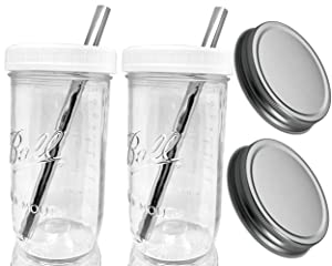 Jarming Collections Reusable Boba Bubble Smoothie Cup Wide Mouth Glass Mason Jar with STAINLESS STEEL Straws Boba Cups and Lids and Straws-Drinking Lid and 1-Piece Silver Leak Proof Cap(2)