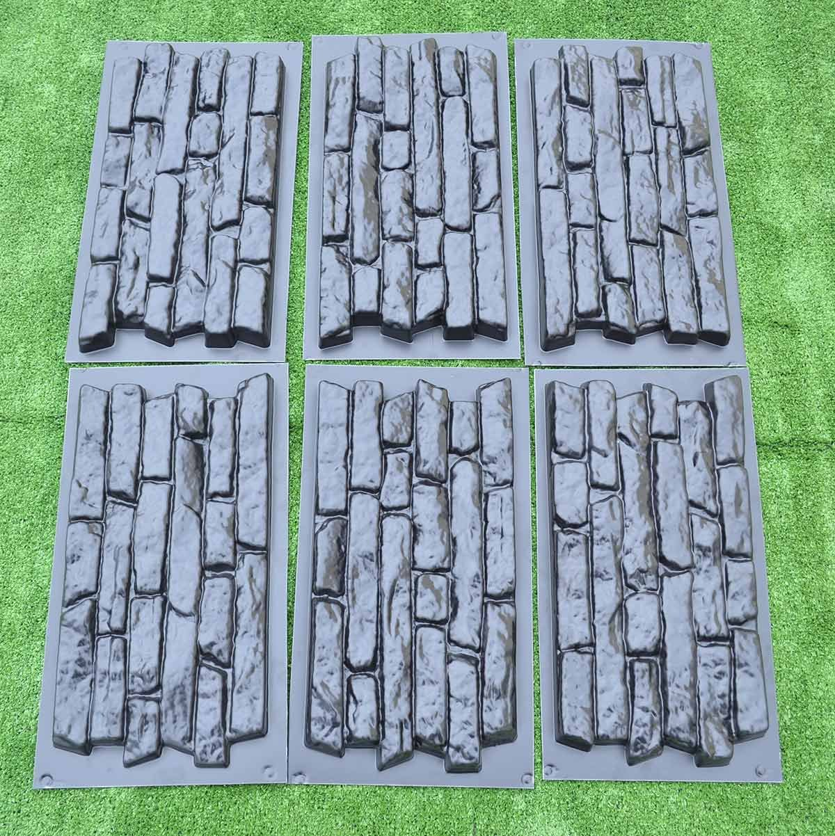 Amazon.com : SET 6 pcs PLASTIK MOLD CONCRETE PLASTER WALL STONE TILES FOR FORMS WALL #W17 : Garden & Outdoor