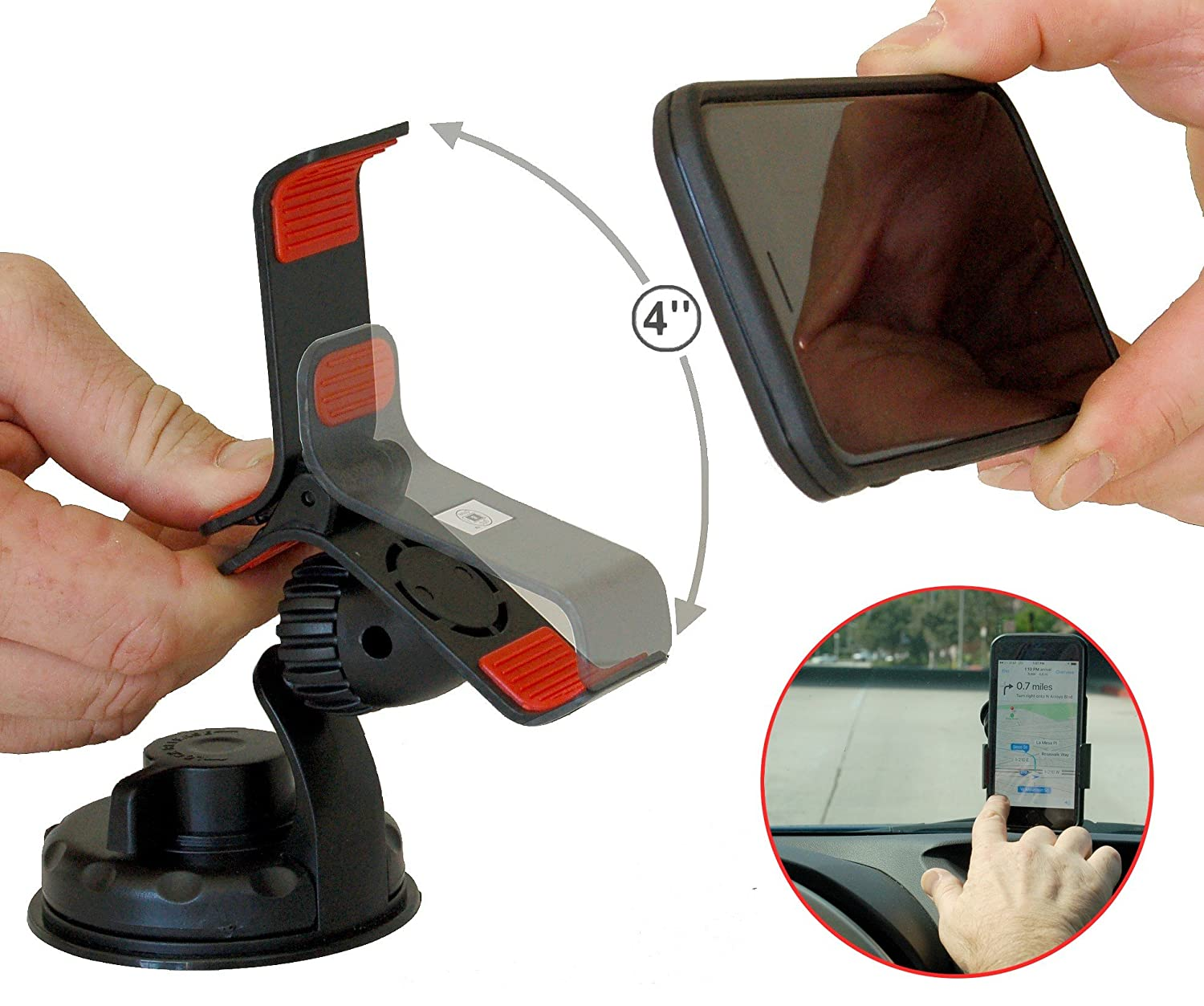 """Car Phone Mount-Smart Phone Holder. Universal Fit for All Phones. The Grip and Drive Mount Fits up to 4"""" Wide. Mount on Dashboard, Windshield and Other flat Smooth Surfaces."""
