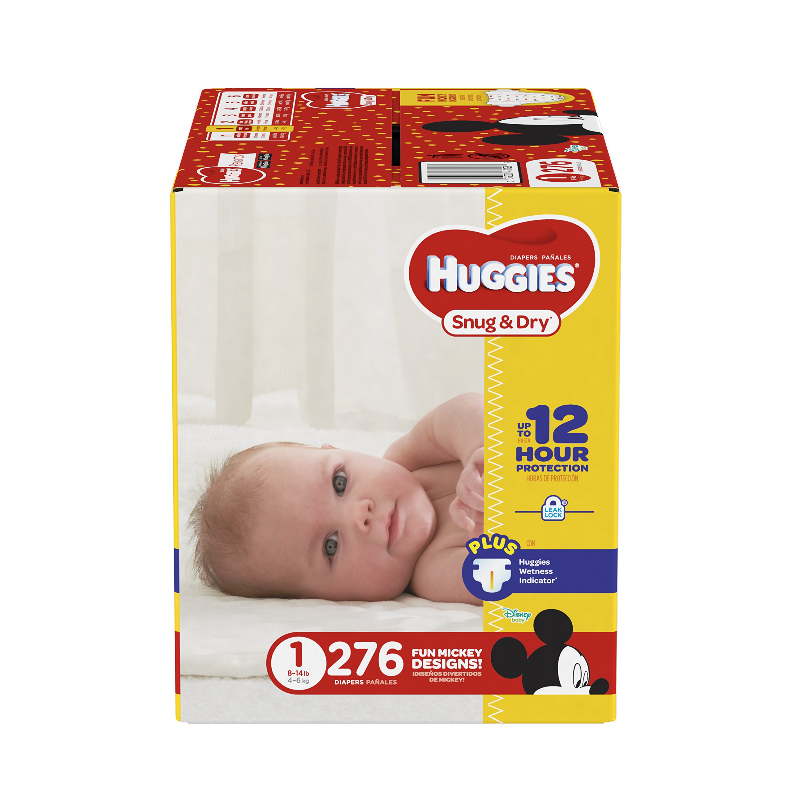 HUGGIES Snug & Dry Diapers, Size 1, 276 Count, ECONOMY PLUS (Packaging