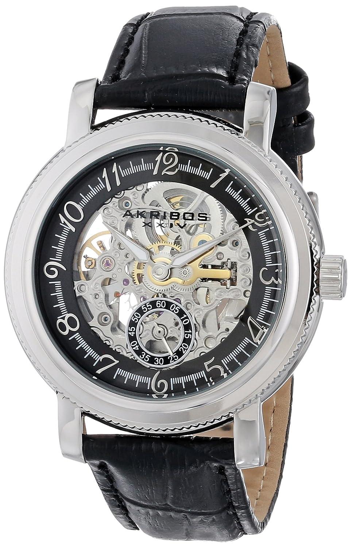 Akribos XXIV Herren Retro Automatische Skelett silberfarbenes Edelstahl schwarz Lederband Armbanduhr