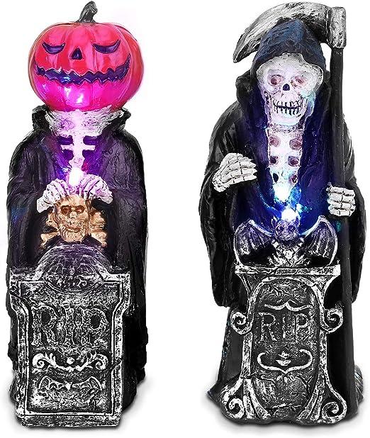 Ousfot Halloween Deko Totenkopf Tischlampe Fur Halloween Party Haus 2 Stuck Amazon De Kuche Haushalt