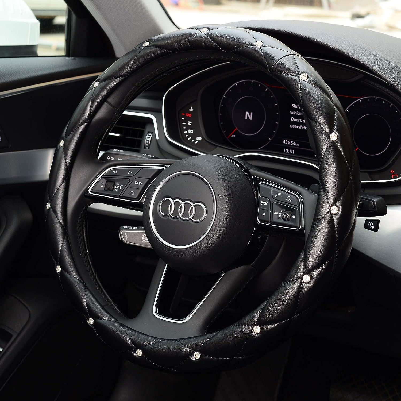 KAFEEK Diamond Leather Steering Wheel Cover with Bling Bling Crystal Rhinestones, Universal 15 inch Anti-Slip