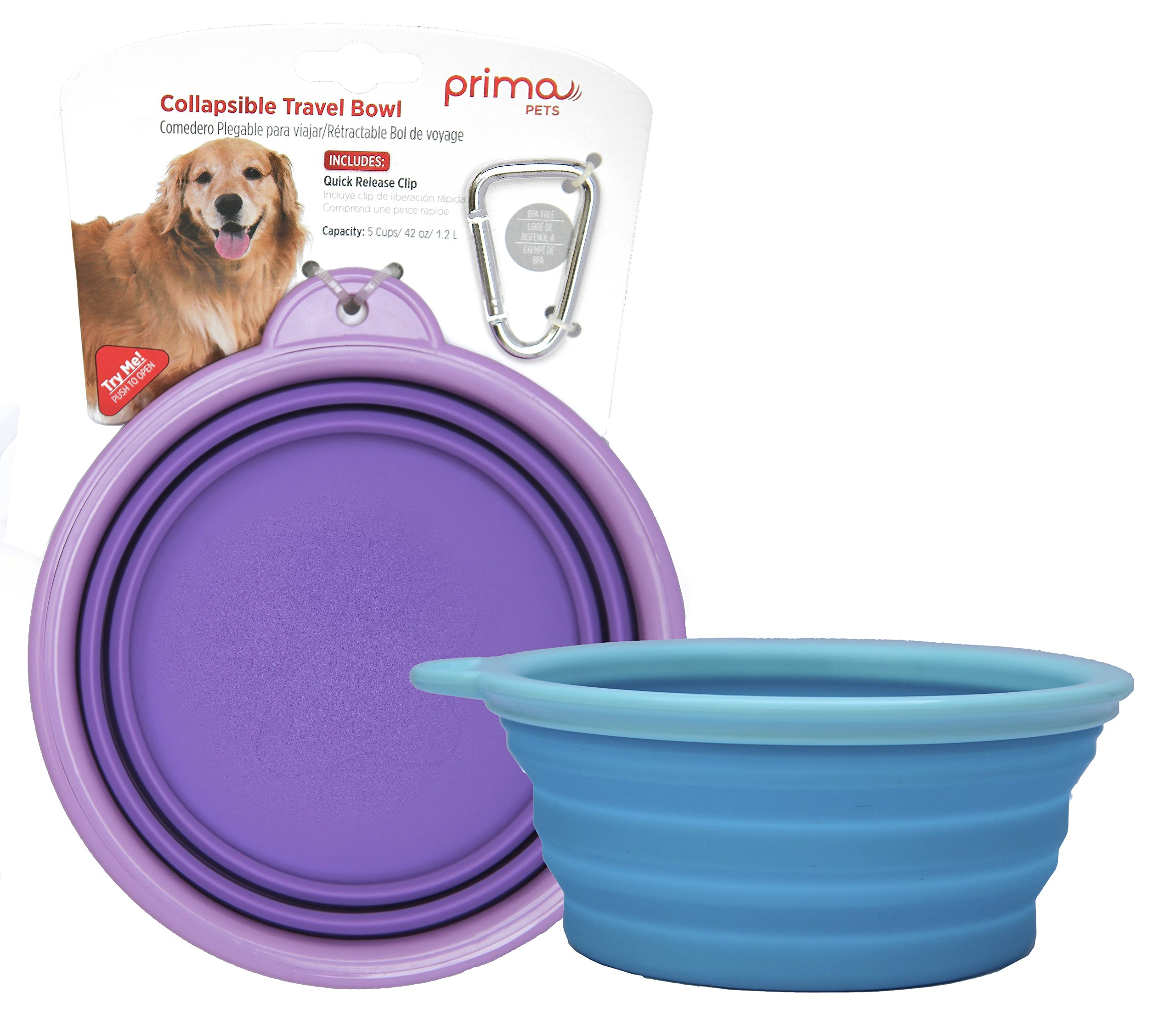 Prima Pet Collapsible Silicone Food & Water Travel Bowl with Clip for Dog and Cat, Portable and Durable Pop-up Feeder for Convenient On-the-go Feeding – Size: LARGE (5 Cups) 2 PACK - AQUA & PURPLE