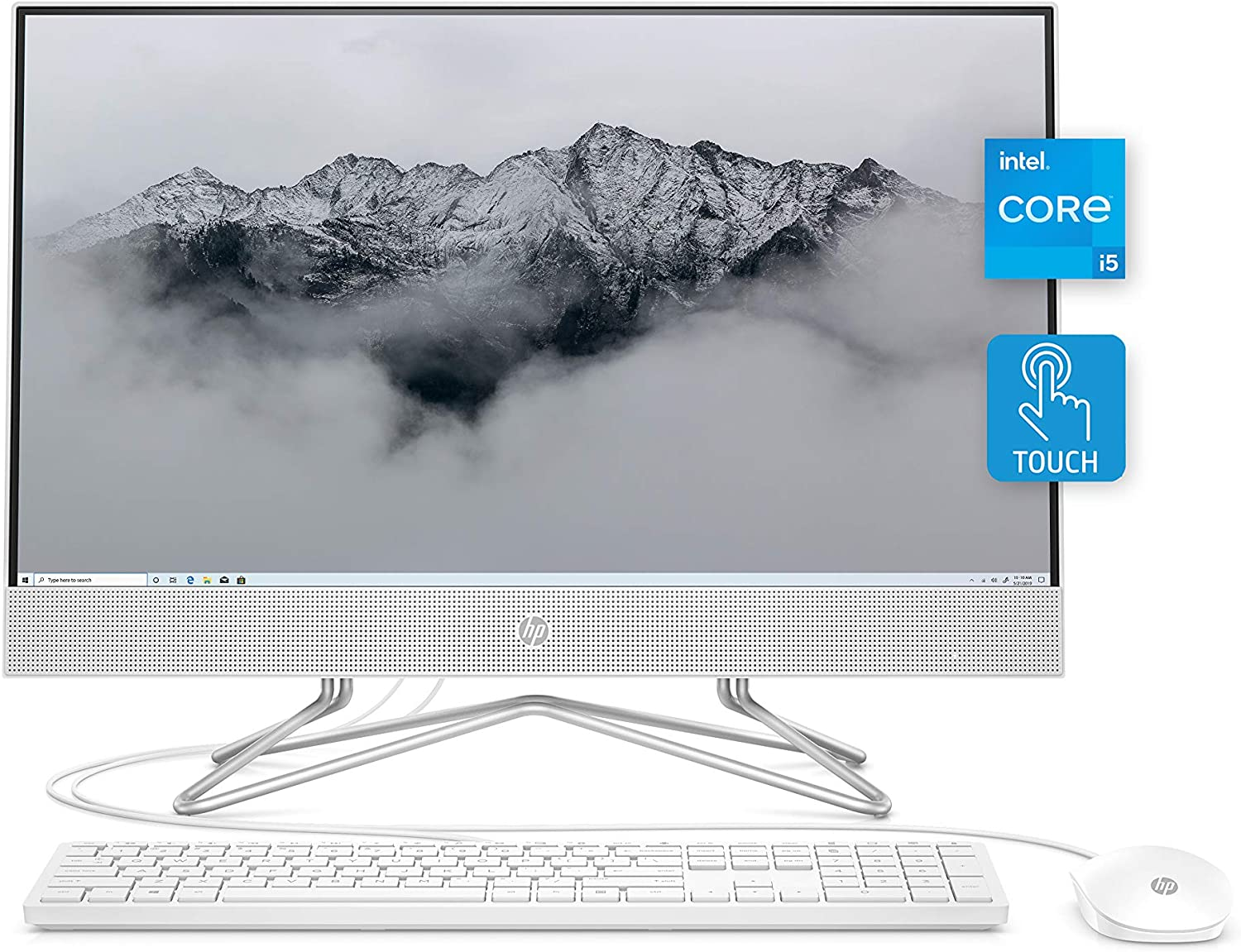 """HP All-in-One Desktop PC, 11th Gen Intel Core i5-1135G7 Processor, 8 GB RAM, 512 GB SSD Storage, Full HD 23.8"""" Touchscreen, Windows 10 Home, Remote Work Ready, Mouse and Keyboard (24-df1270, 2021)"""