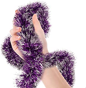Mardi Gras Purple Frost Tip Tinsel Garland Masquerade Metallic Streamers Celebrate a Holiday New Years Eve Happy Birthday Halloween Party Indoor and Outdoor Disco Party Decorations Supplies