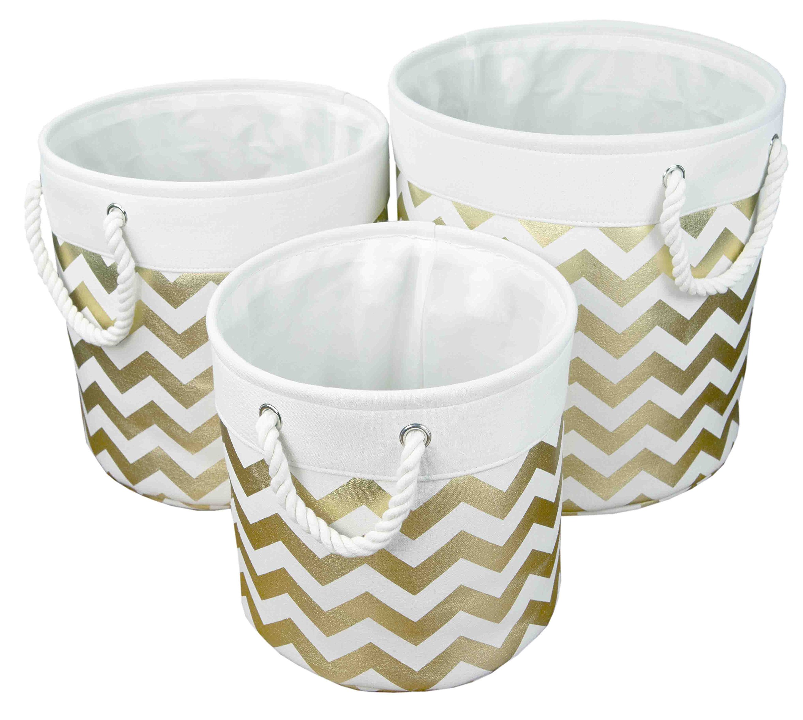 Home Basics 3 Piece Canvas Nesting Round Circle Storage Bins Basket with Rope Handle (Gold, Chevron)