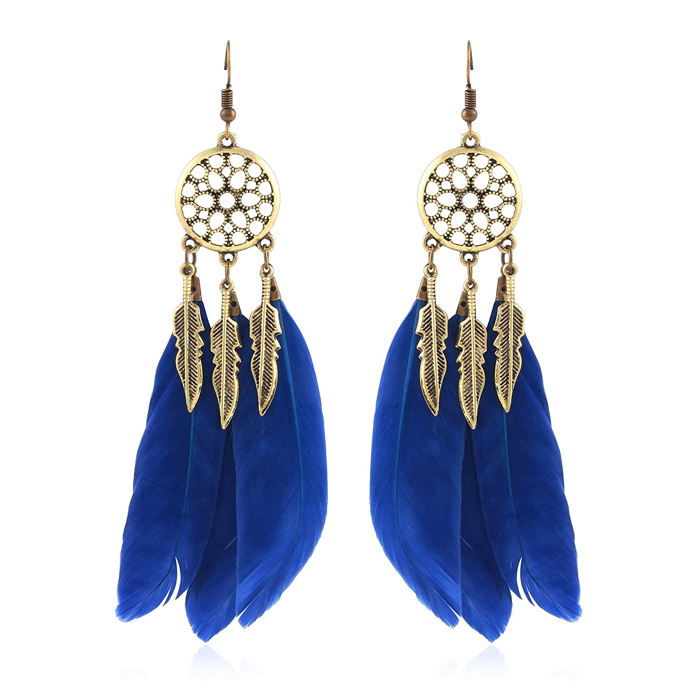 27d8463cfca49 Crunchy Fashion Jewellery Feather Dream Catcher Earrings for Girls Fancy  Party Wear Earrings for Women