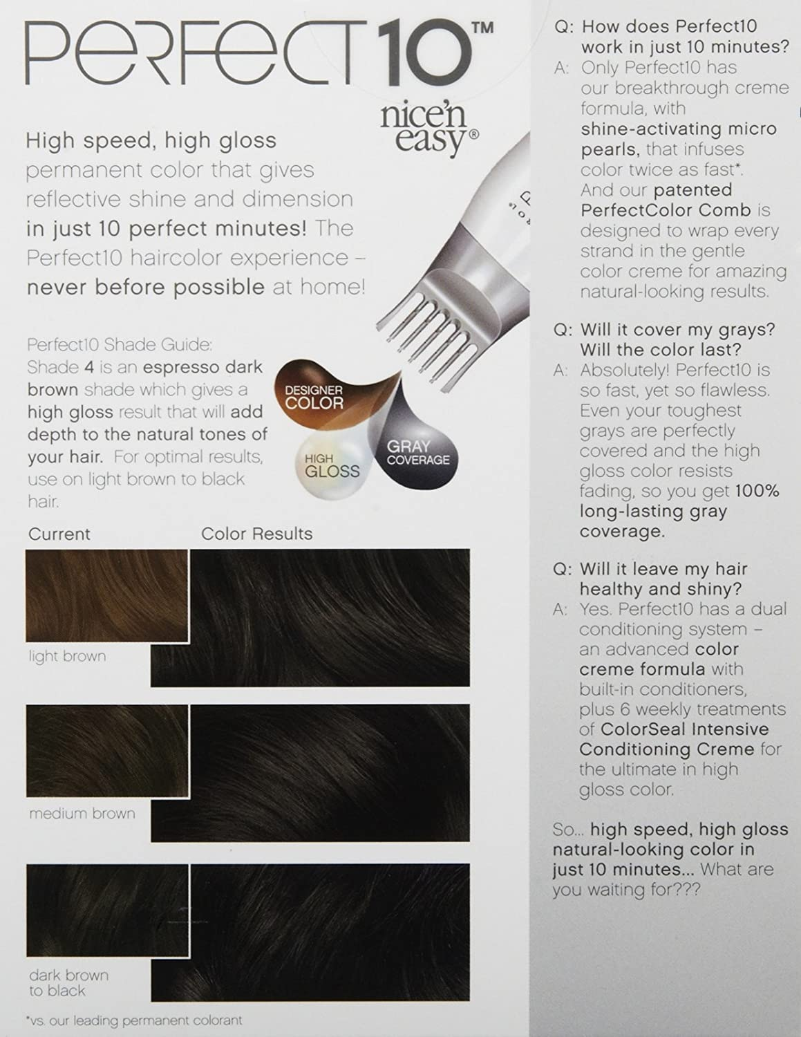 Amazon.com : Clairol Perfect 10 by Nice 'n Easy Hair Color, 4, Dark Brown :  Chemical Hair Dyes : Beauty