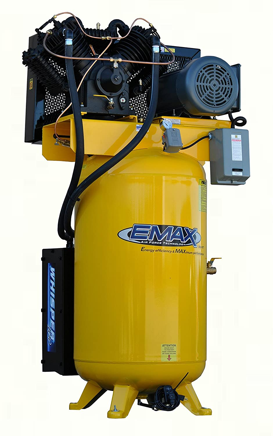 10 HP Quiet Air Compressor, Vertical, 1 PH, 80-Gallon, Industrial Plus Series, Model ESP10V080V1 by EMAX Compressor