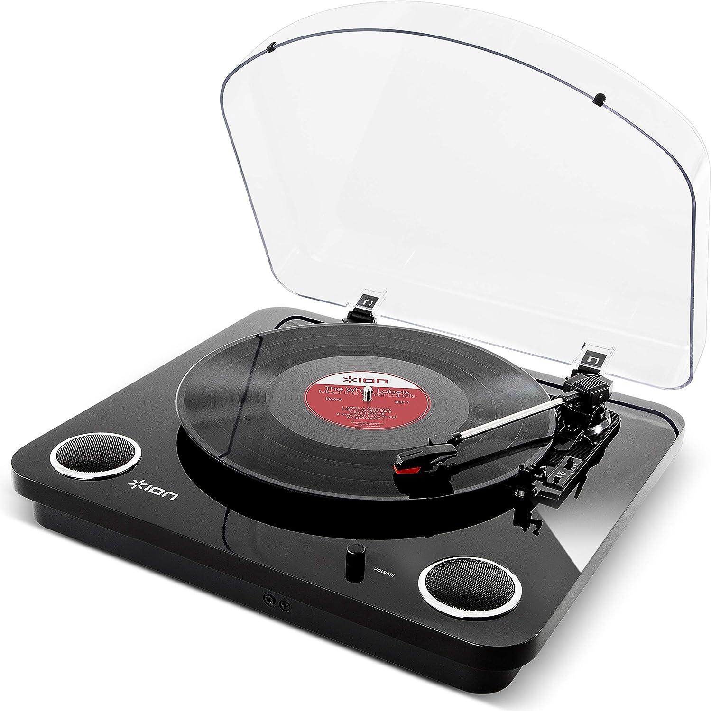 ION Audio Max LP - Tocadiscos de vinilo de 3 Velocidades con Altavoces estéreo, Salidas Auriculares y RCA, Salida USB para Convertir Discos de Vinilo a Archivos Digitales, Acabado en Negro Piano