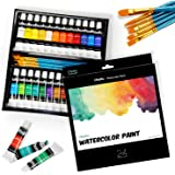 Watercolor Paint Set by Ohuhu 24 Premium Quality Art Watercolors Painting Kit (12 ml, 0.42 oz.) with 6 Painting Brushes for Artists, Students Beginners - for Landscape Painting Back to School Gifts