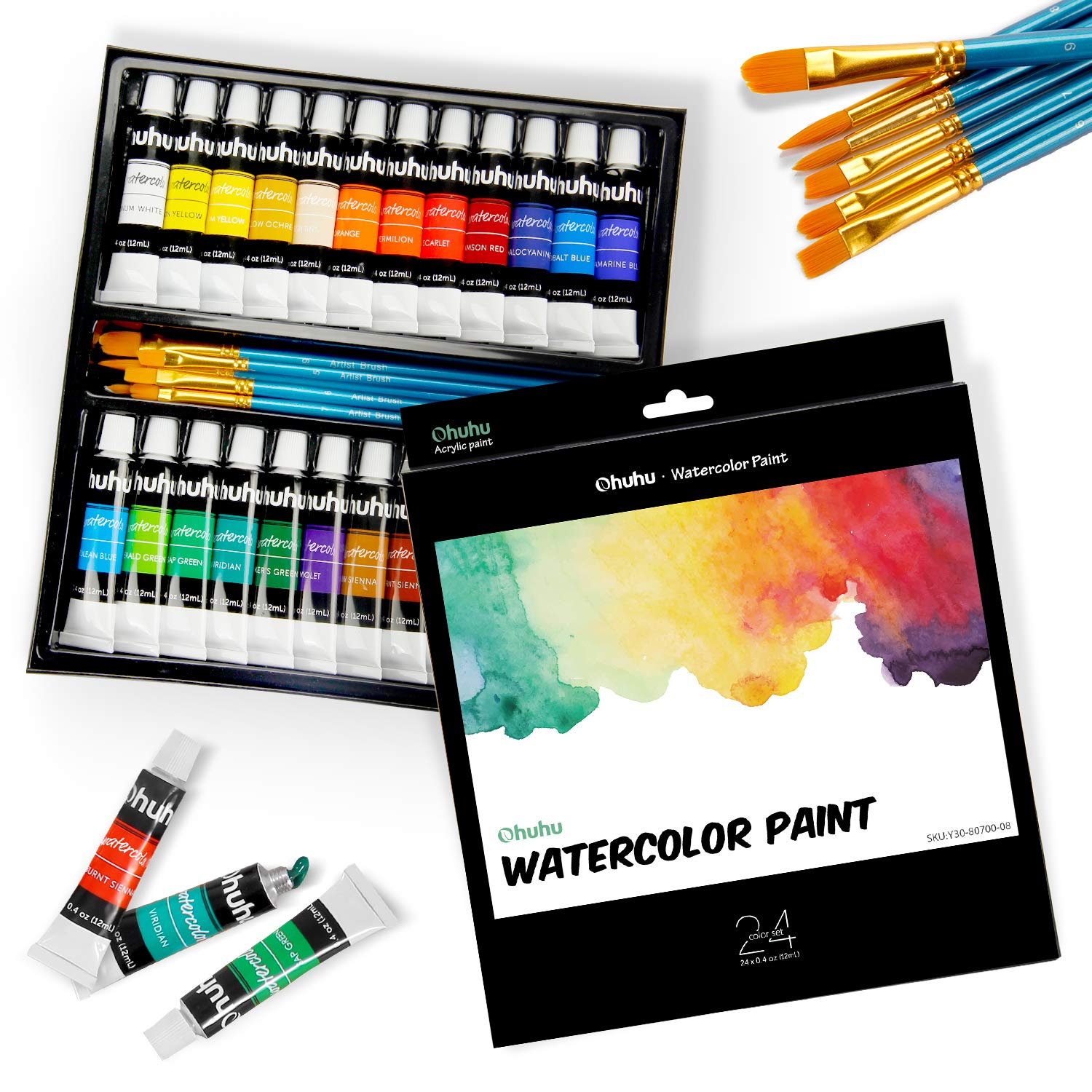 Watercolor Paint Set by Ohuhu 24 Premium Quality Art Watercolors Painting Kit with 6 Painting Brushes for Artists, Students Beginners - Perfect for Landscape Portrait Paintings on Canvas (24 x 12ml) by Ohuhu