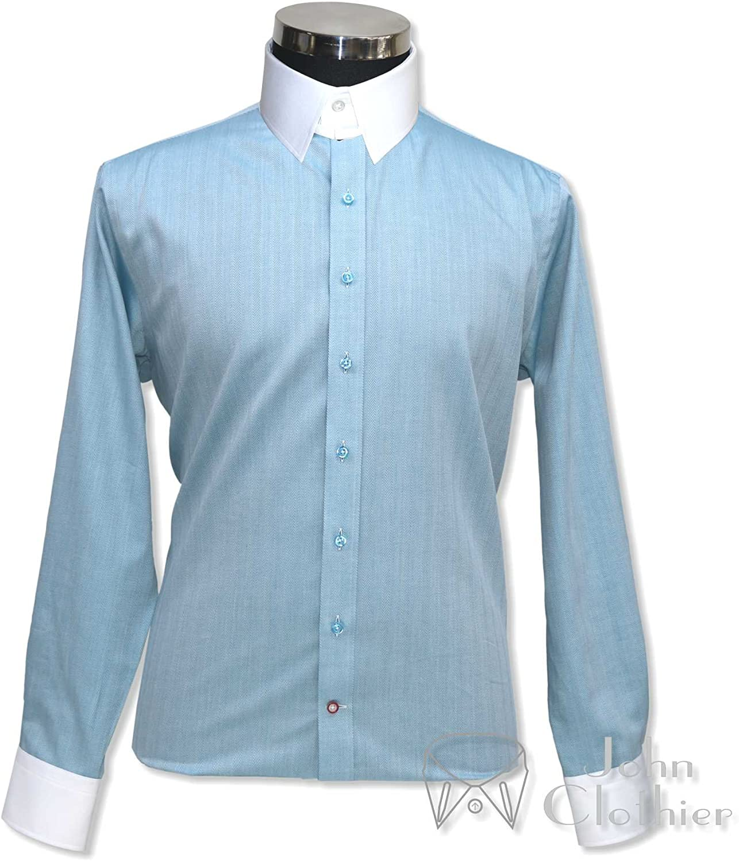Tab Collar Mens Bankers Style Shirt Sea Blue Herringbone 100/% Cotton Loop Collar Long Sleeves Single Cuff Gents 100-26