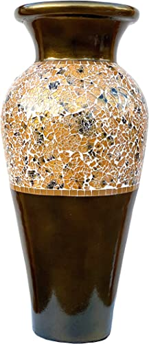 Zorigs Floor Vase Tall Cylinder with Swirls Made of Brass, Dandelion, and White Glass Mosaic Pieces Exquisite Home D cor Accent Piece 23.6 x 10.2 Inches
