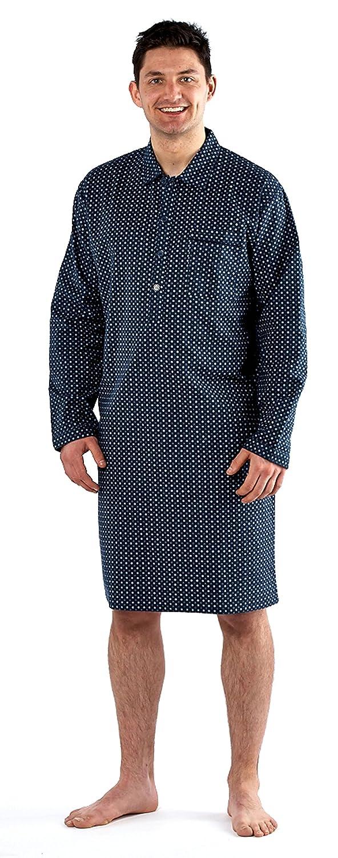 6670172d08 Mens Brushed Night Shirt Traditional Striped Nightshirt 100% Cotton Warm  (M