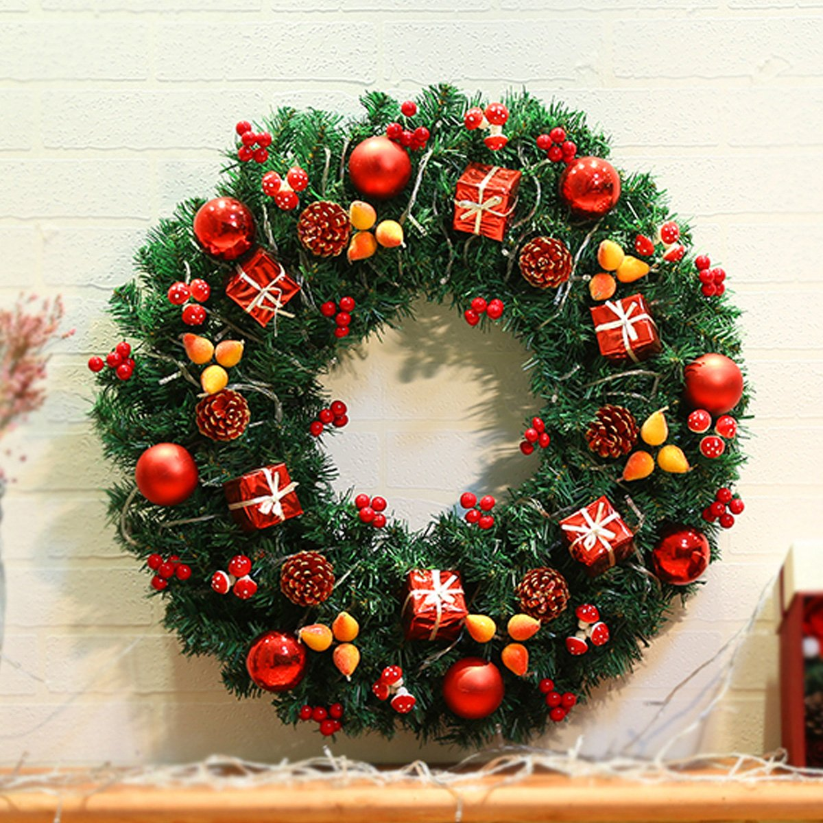 Bling Red Wreath,Door Decoration Rattan Ring With Ball Gifts Box Pinecone for Home Bedroom Bar Mall Hotel (15.7 Inch D)