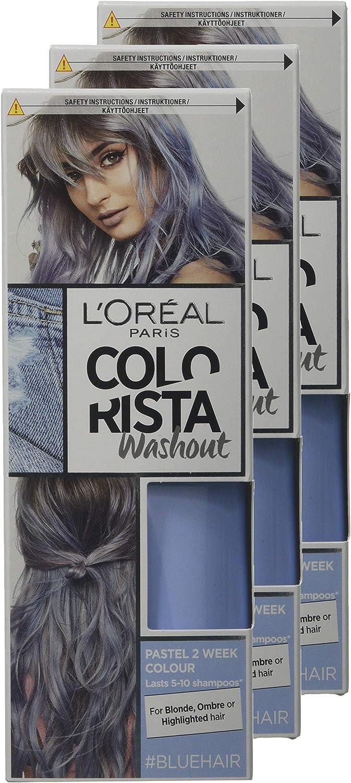 LOreal Paris Colorista Washout tinte semipermanente para el cabello, azul, paquete de 3