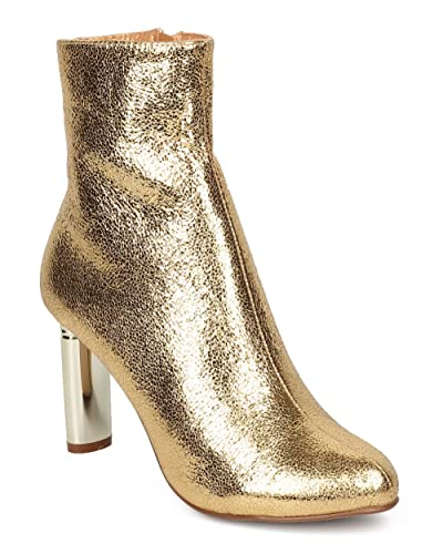 Women Metallic Foiled Heel Bootie - Dressy Formal Trendy - Oval Heel Ankle Boot - GF77 by