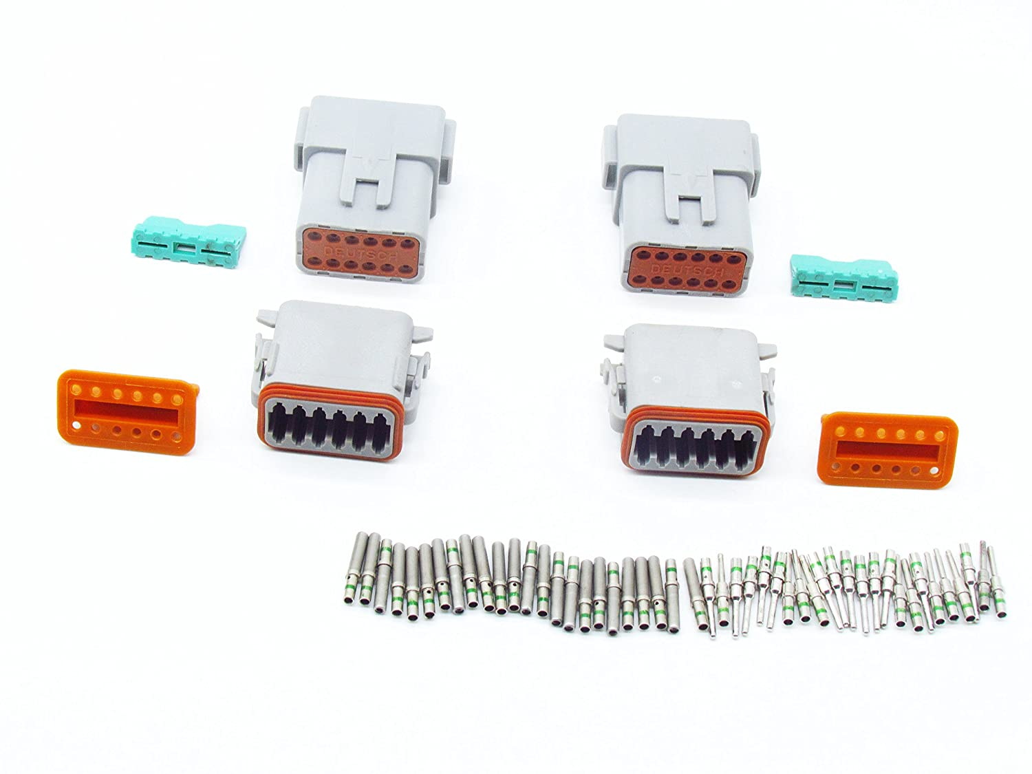 CNKF 2 Sets DT 12 Pin Gray Connector Kit with 14 Gauge Crimp Style Terminals DT06-12S//DT04-12P