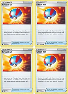 product image for Pokemon Card - Great Ball - Sword and Shield Base - x4 Card Lot Playset - 164/202 Uncommon
