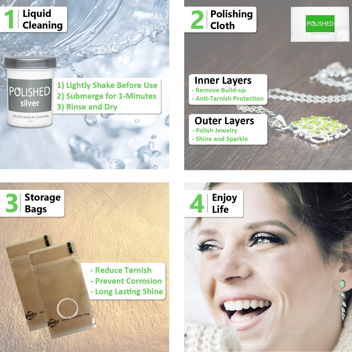 Polished Silver Jewelry Cleaner Kit - Professional Jewelry Cleaning in 1-Minute | Silver Cleaning Solution, Polishing Cloth + Anti-Tarnish Jewelry Bags | Made in USA + Best Sterling Silver Cleaner by Polished (Image #4)