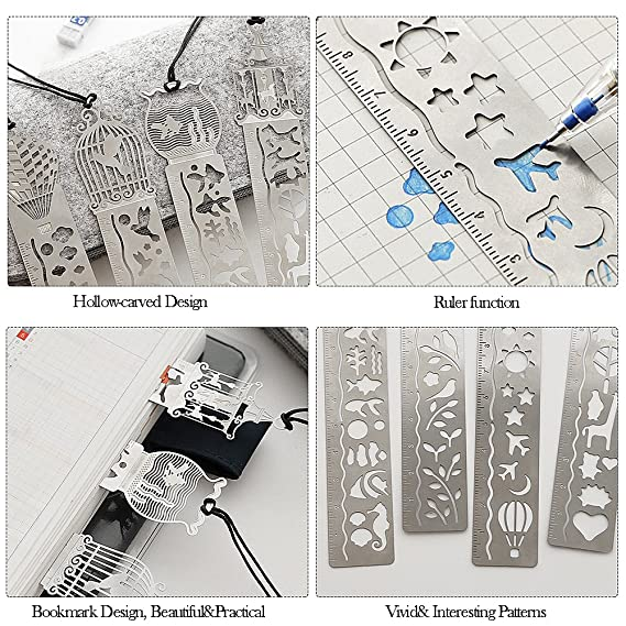 Vamei 20pcs Rainbow Scratch Paper With 4pcs Cute Metal Bookmark