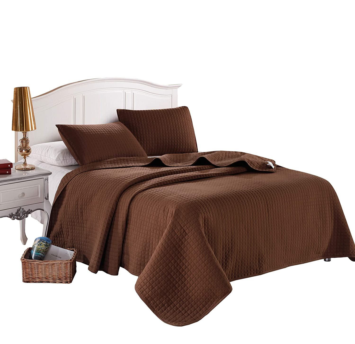 Twin Brown Solid Color Box Stitch Quilted Bedspread Coverlet 68 by 86 inches plus 2 Standard Shams 20 by 26 inch Hypoallergenic Reversible Bed Cover for Homes,Hotels,Motels, Rentals 4 lbs