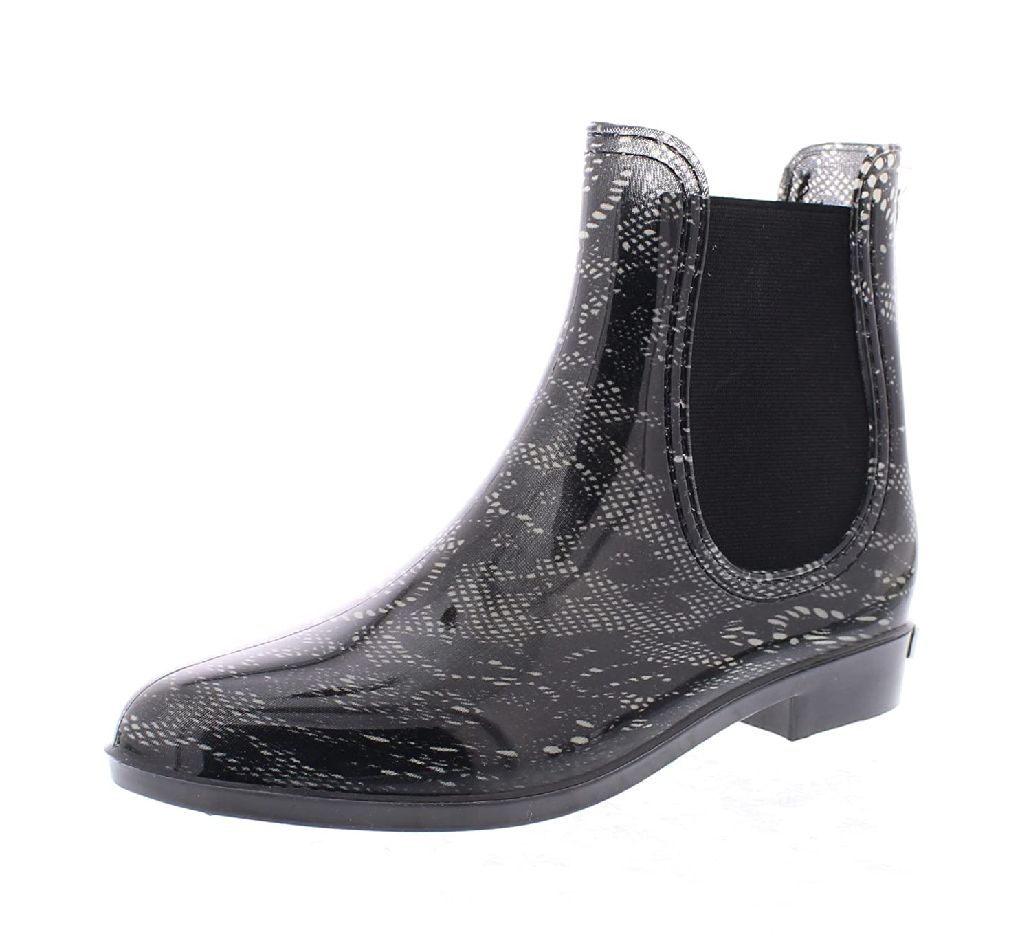 Marilyn Monroe Women's Ankle Length Short Chelsea Rainboot Shoes, Waterproof Jelly Pull On Welly Boots B078SNK4FQ 7 B(M) US Black Lace