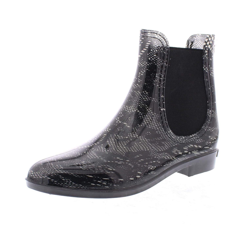 Marilyn Monroe Women's Ankle Length Short Chelsea Rainboot Shoes, Waterproof Jelly Pull On Welly Boots B078SNPJJQ 9 B(M) US|Black Lace