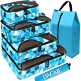 Bagail 6 Set Packing Cubes,Travel Luggage Packing Organizers with Laundry Bag Or Toiletry Bag (Geomtry)