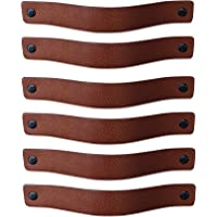 Brute Strength - Leren Handgrepen - Cognac - 6 stuks - 20 x 2,5 cm - incl. 3 kleuren schroeven per leren handvat voor…