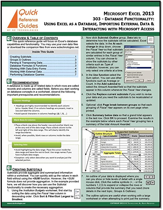 Amazon.com : MICROSOFT EXCEL 2013 Quick Reference Guide - Database ...