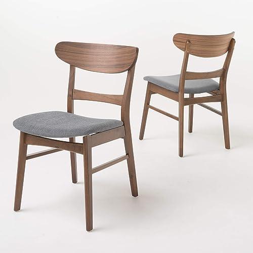 Christopher Knight Home Idalia Fabric Walnut Finish Dining Chair Set of 2 , Dark Grey