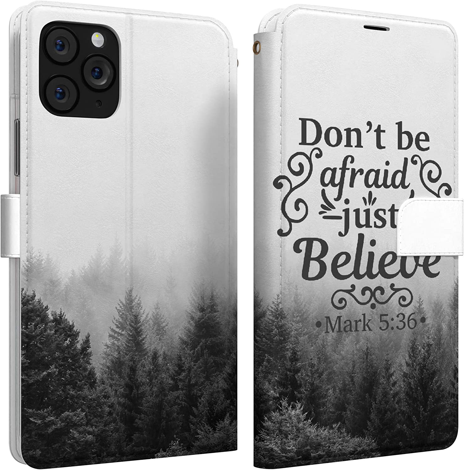 Mertak Wallet Case Compatible with iPhone 12 11 Pro Max SE Xr Xs X 8 Plus 7 6s Mark 5:36 Don't be Afraid Slim Fit Quote Lightweight Religious Cover Forest Bible Verse Flip Folio Card Holder Magnetic