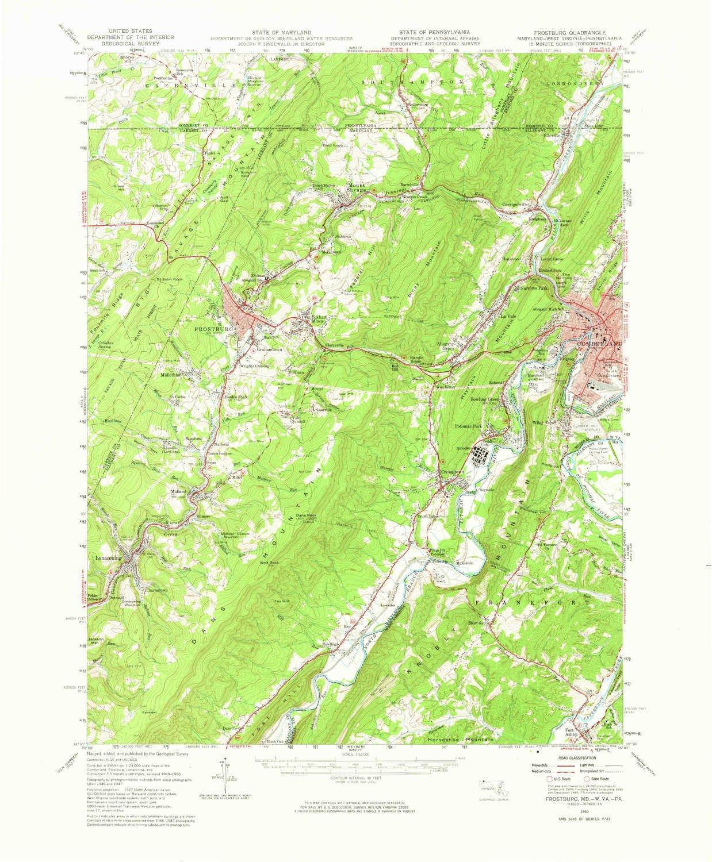 Amazon.com: YellowMaps Frostburg MD topo map, 1:62500 Scale, 15 X 15 ...