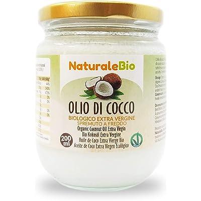 Aceite de coco extra virgen 200 ml - Crudo y prensado en frío - Puro y 100% biológico - Ideal para cabello, cuerpo y para uso alimentario - Aceite bio nativo no refinado. NaturaleBio